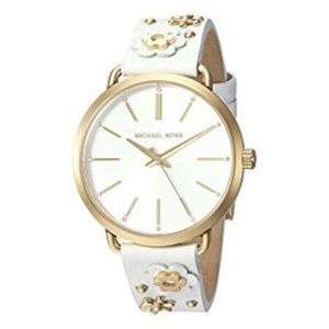 Michael Kors White & Gold Flower Watch